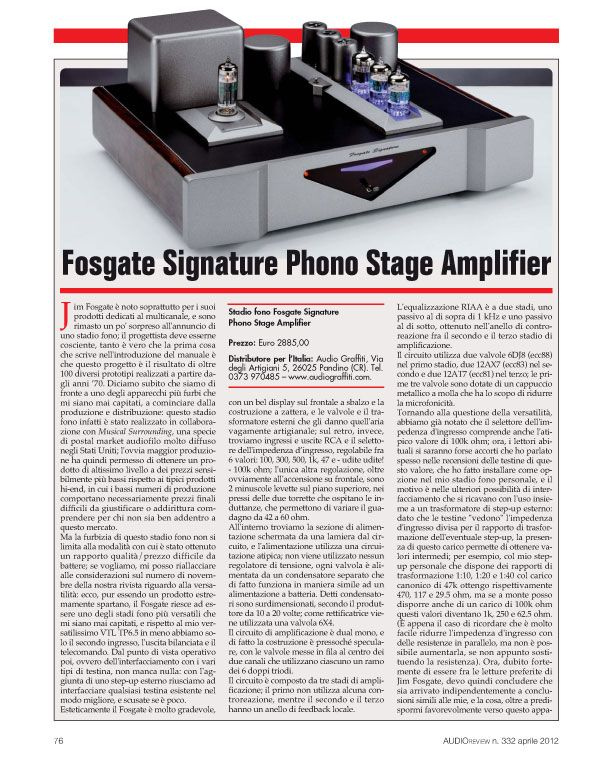 Fosgate Signature Phono Stage Amplifier – Audio Review
