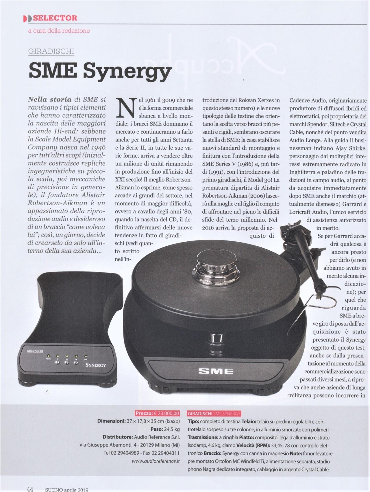 SME Synergy – giradischi con testina e prephono