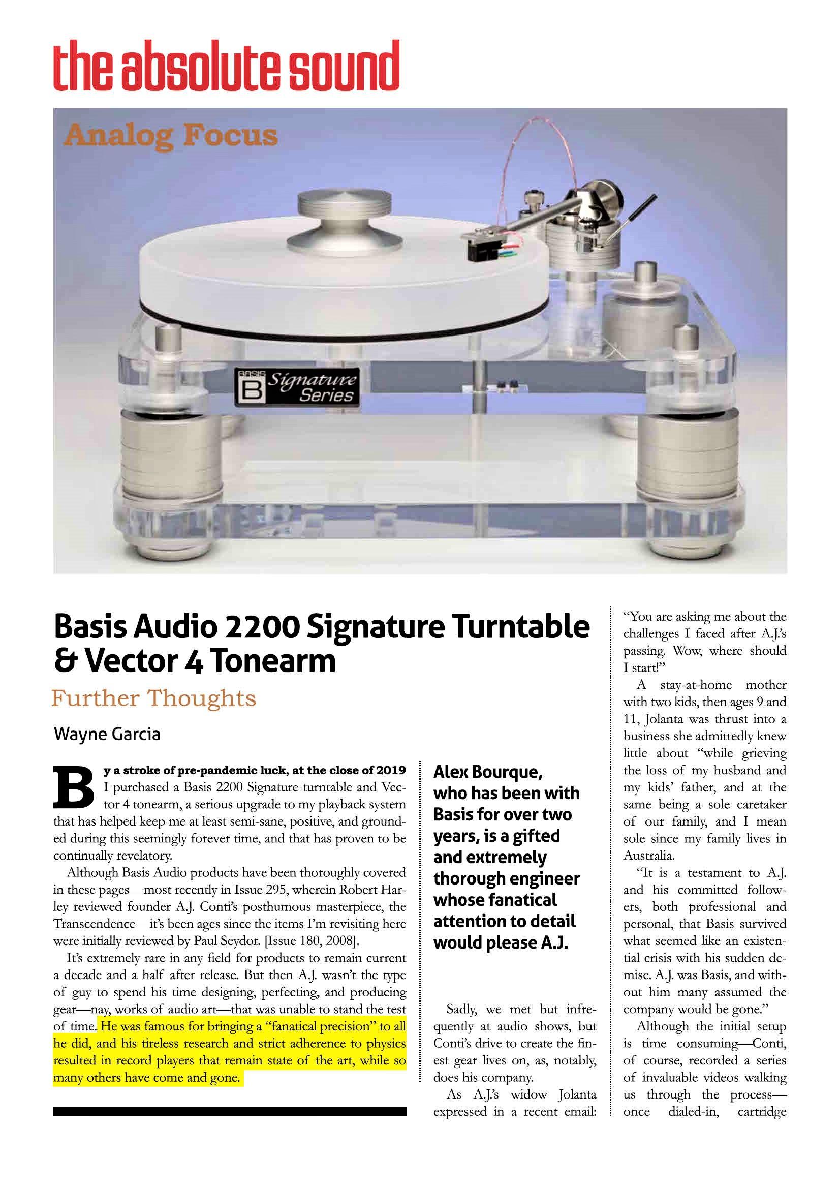 Basis Audio 2200 Signature Turntable – Vector 4 Tonearm